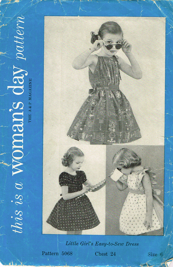 1950s Vintage Woman's Day Sewing Pattern 5068 Easy Toddler Girls Sun Dress Sz 6 -Vintage4me2