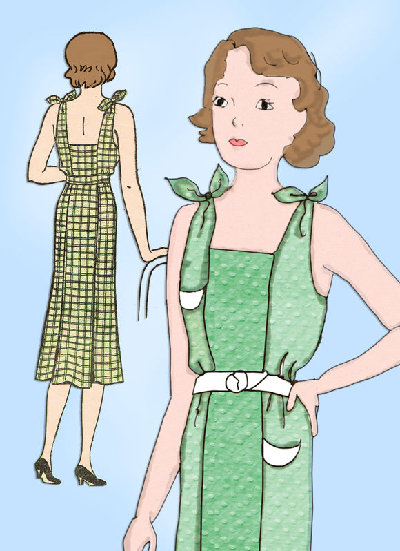 Woman's World 5808: 1930s Teen Girls Sun Back Dress Sz 14 Vintage Sewing Pattern