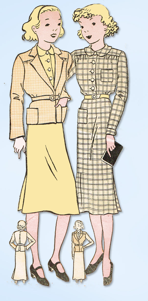 1930s Vintage Womans World Sewing Pattern 5822 Uncut Girls Dress & Jacket Size 8