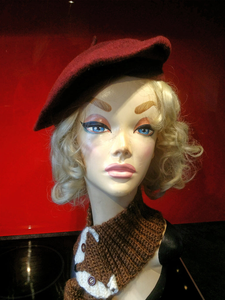 Soft Acrylic Wool Beret in Claret