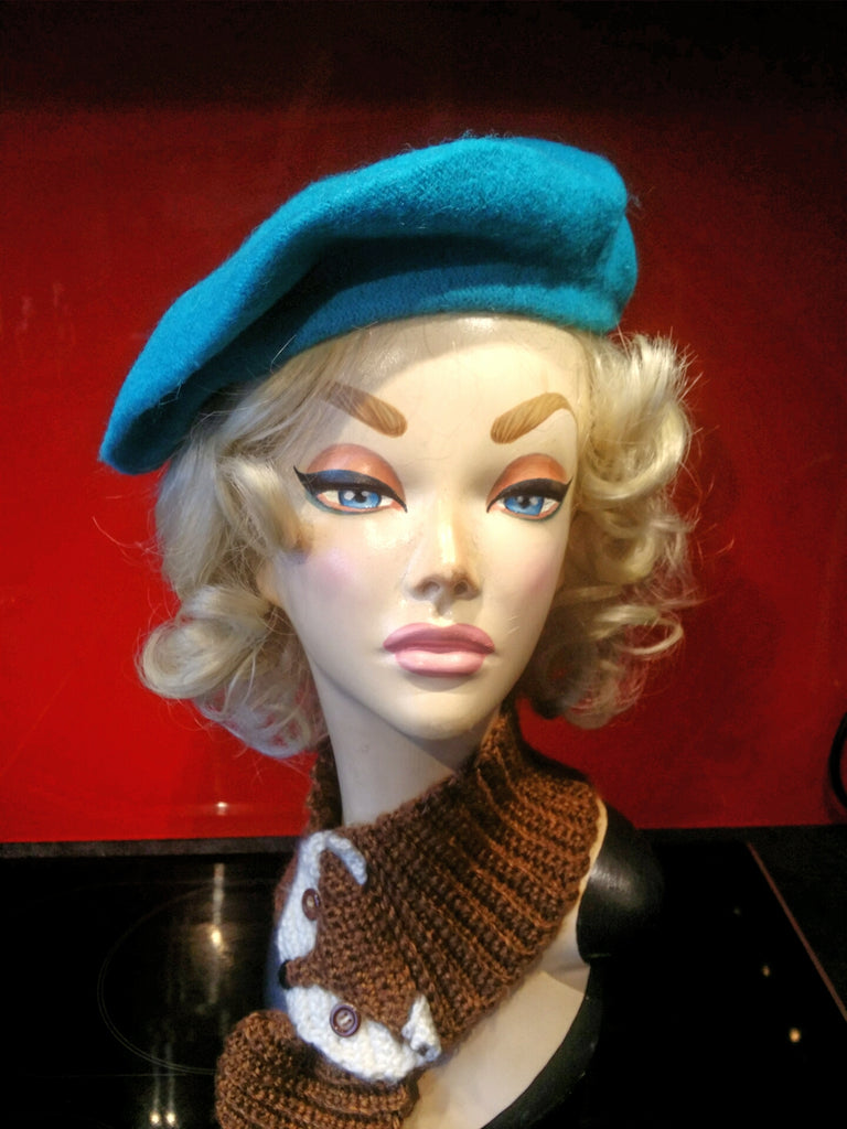 Soft Acrylic Wool Beret in Turquoise