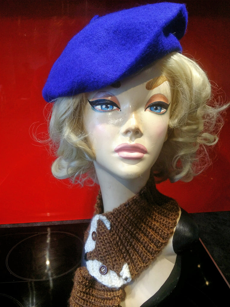 Soft Acrylic Wool Beret in Electric Blue