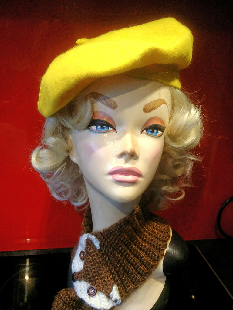 Soft Acrylic Wool Beret in Bight Yellow