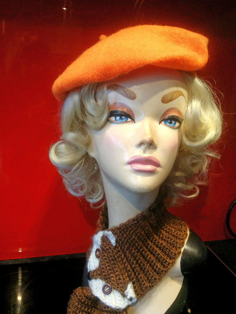 Soft Acrylic Wool Beret in Orange