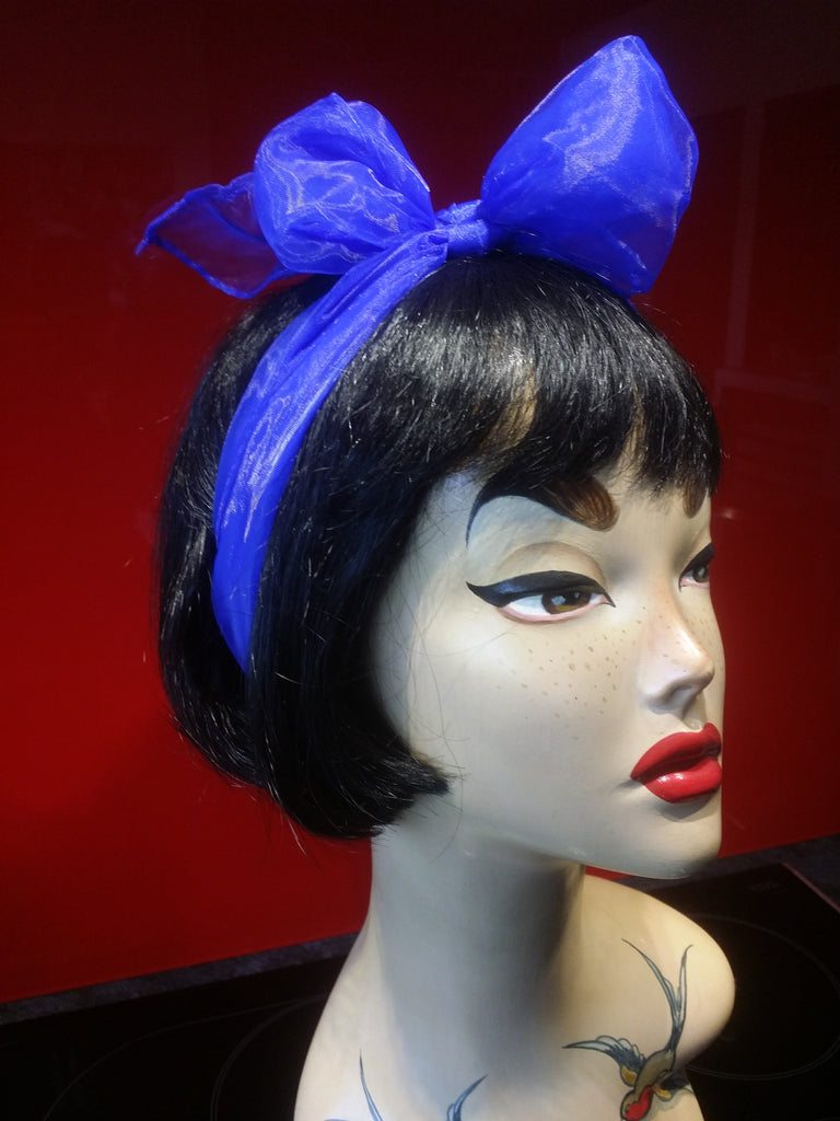 Silky Nylon Hair Scarf in Cobalt Blue