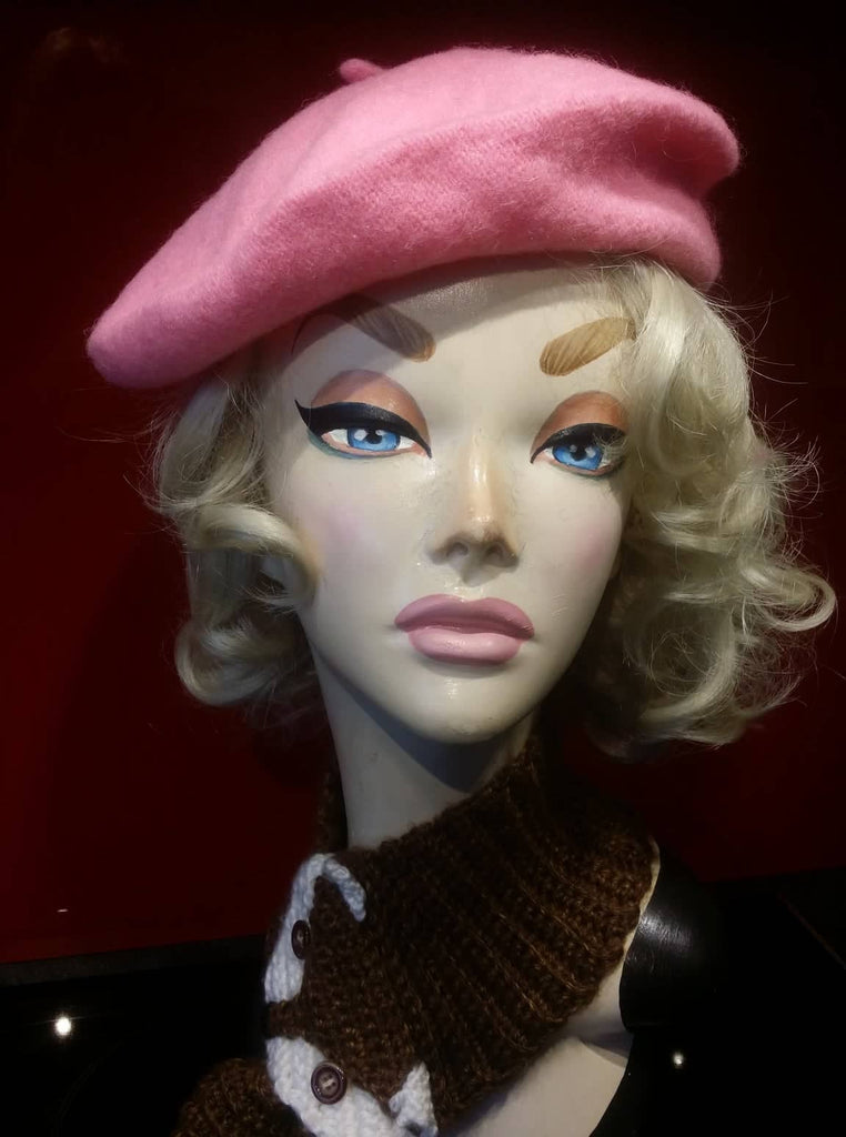 Soft Acrylic Wool Beret in Pink