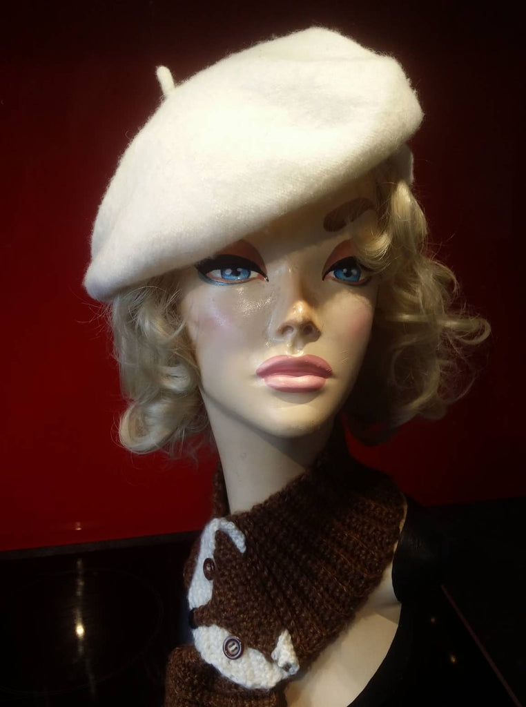 Soft Acrylic Wool Beret in Ivory