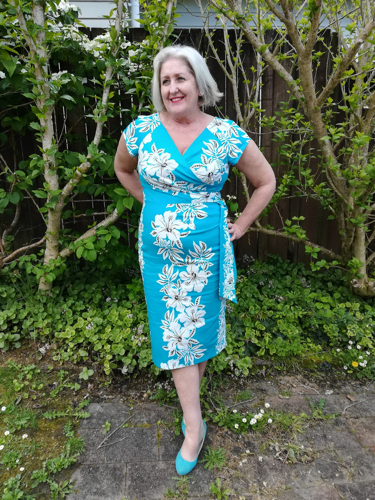 Hourglass Pencil Dress in Turquoise Hawaiian by The Pretty Dress (Size X Small Only)