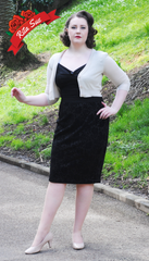 Pencil Skirt in Black Flocked Floral Print by Curvy Couture by Judy Dee (Plus Sizes)