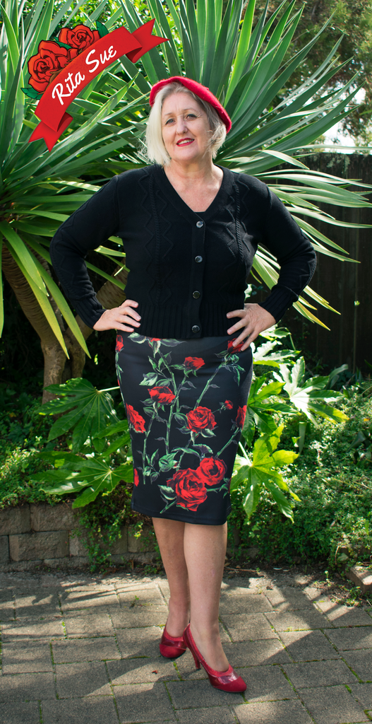 Stretch Wiggle Skirt in Black with Red Rose Print