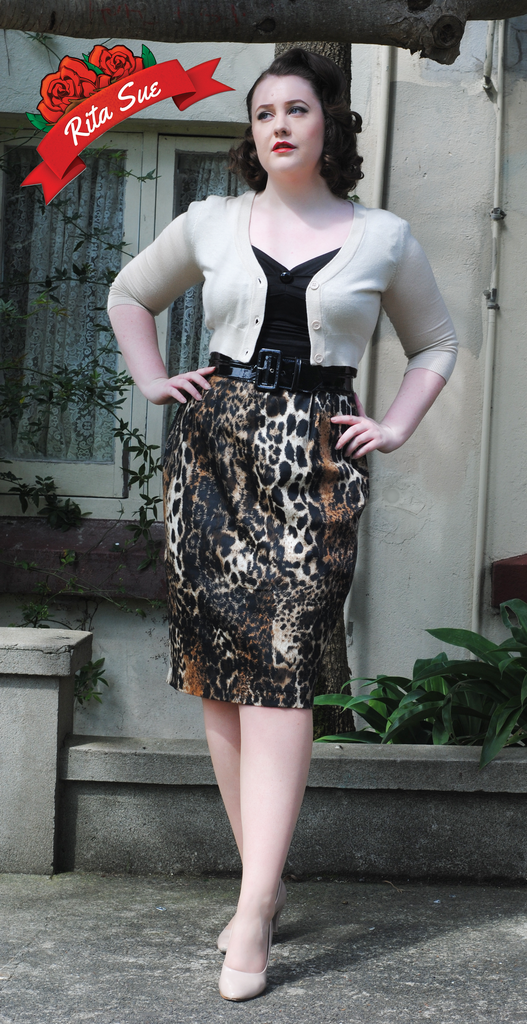 Pencil Skirt in Brown Leopard Print by Curvy Couture by Judy Dee (Plus Sizes)