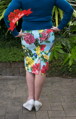 Stretch Wiggle Skirt in Light Blue with Floral Print