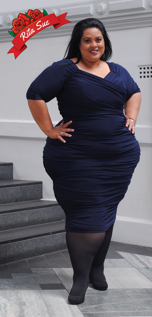 Monica Dress in Matte Navy by Pin Up Couture - 4XL