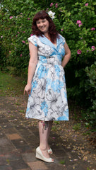 Five-O dress in Blue Hibiscus Print by Cry Cry Cry