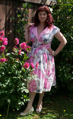 Five-O dress in Pink Hibiscus Print by Cry Cry Cry