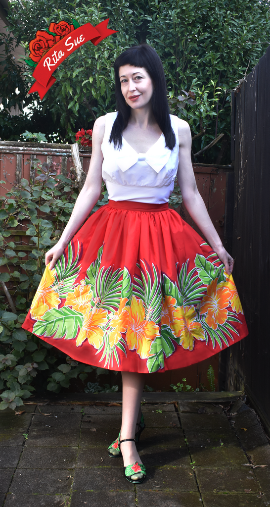 Mahina Skirt in Red Tropical Hibiscus Print by Cry Cry Cry