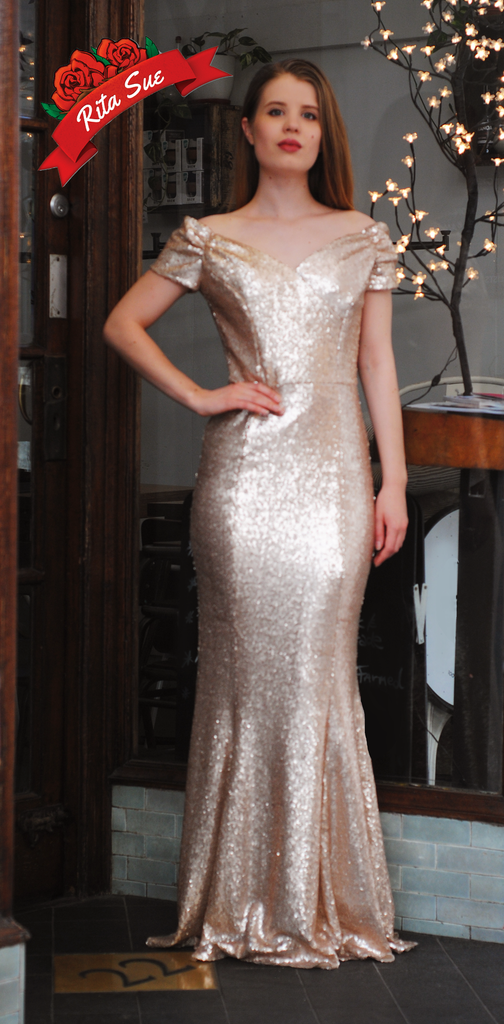Fatale Pale Gold Sequin Fishtail Gown by The Pretty Dress