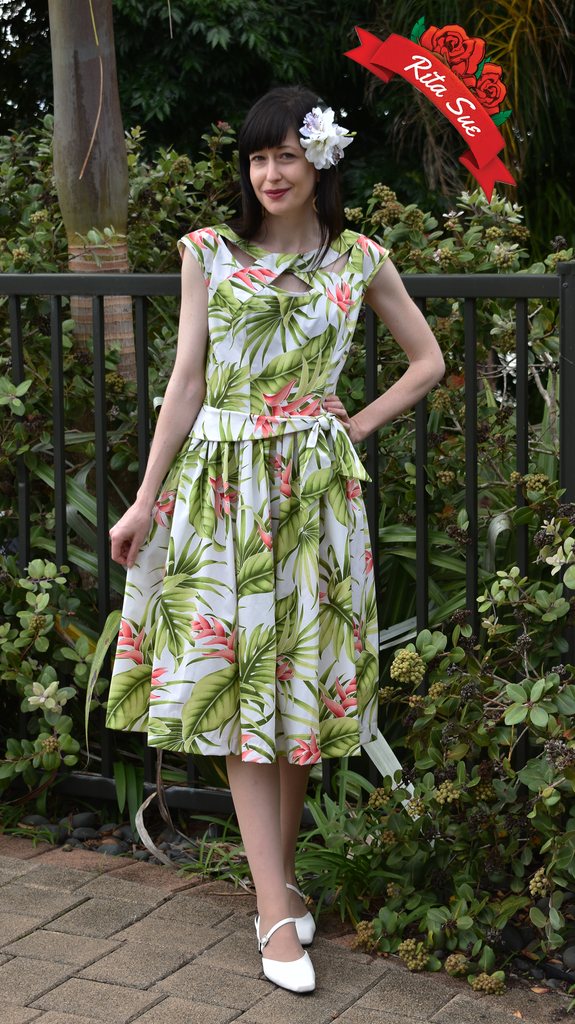 Olona Swing Dress in Green and Pink Tropical Print by Cry Cry Cry (Size X Small Only)