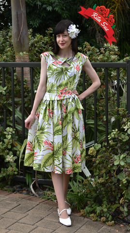 Olona Swing Dress in Green and Pink Tropical Print by Cry Cry Cry - X Small