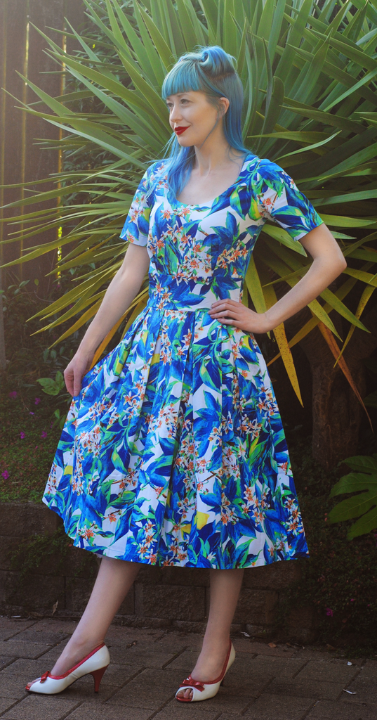 Gigi Blue Floral Print Swing Dress By Zoe Vine