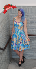 Mermaid Lagoon Printed Dress with Purple Accents by Sar-Cie