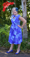 Olona Swing Dress in Blue and Cyan Tropical Print by Cry Cry Cry