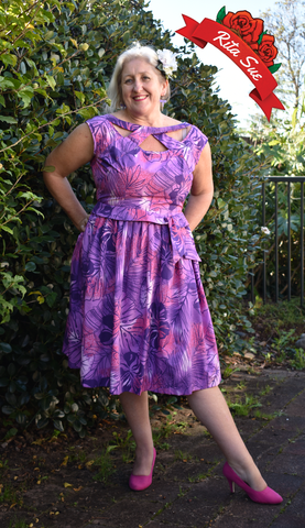 Olona Swing Dress in Purple and Magenta Tropical Print by Cry Cry Cry