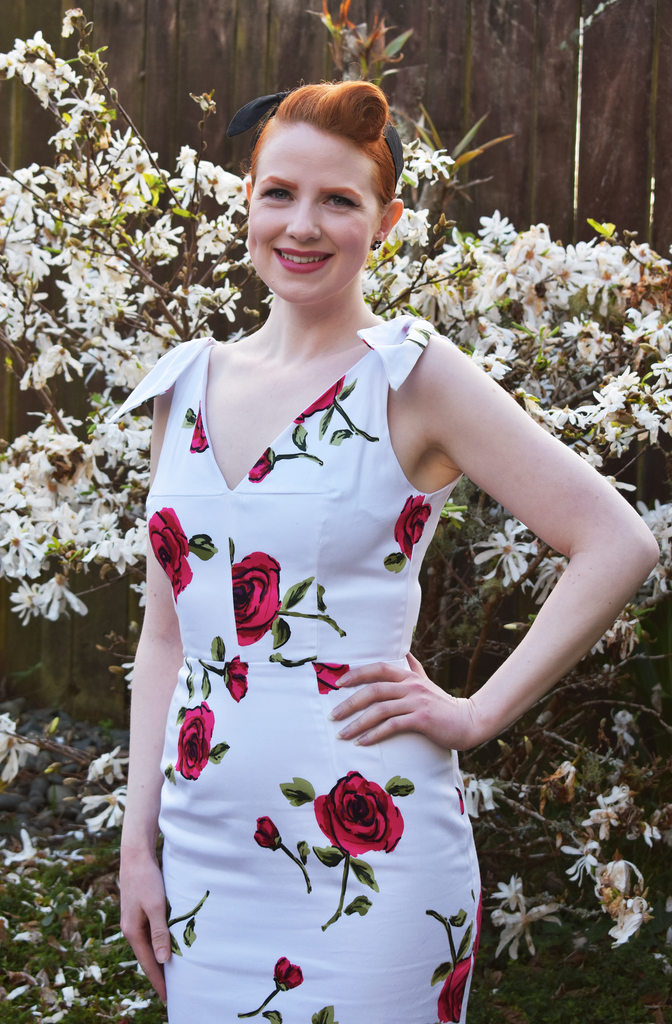 Ava Pencil Dress in White with Cadiz Rose Print by The Pretty Dress