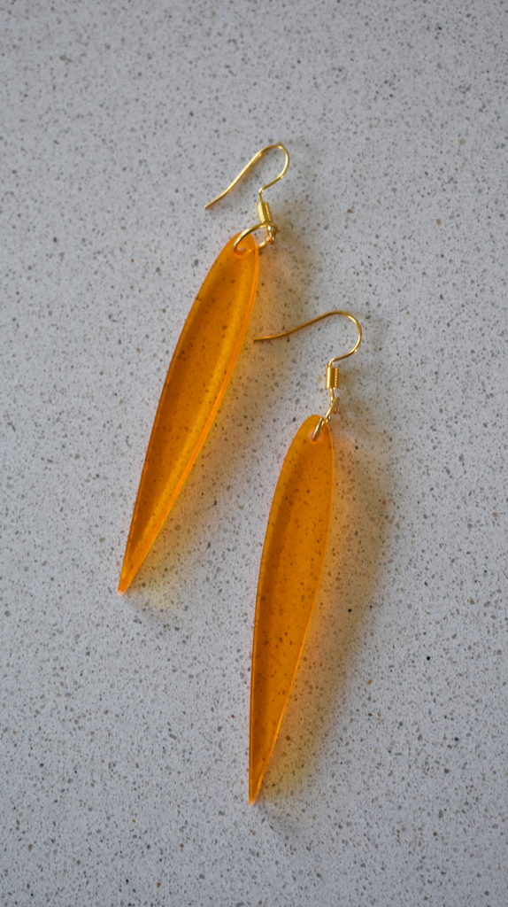 K*nty Couture Transparent Orange Leaf Drop Earrings