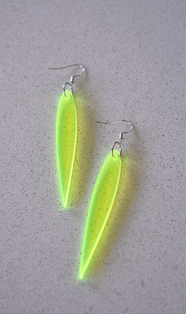 K*nty Couture Fluoro Yellow Leaf Drop Earrings