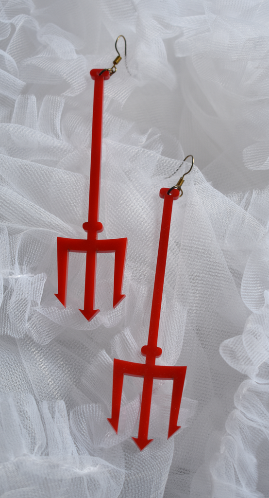 K*nty Couture Red Pitchfork Drop Earrings