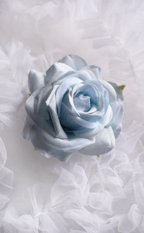 Medium Velvet Rose Pin Up Hair Clip in Light Blue