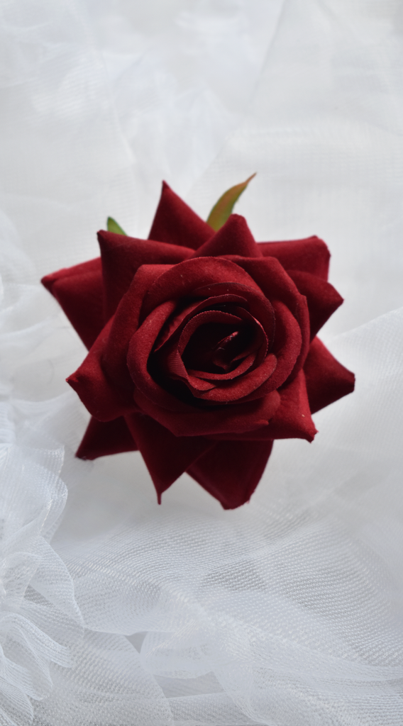 Medium Velvet Rose Pin Up Hair Clip in Deep Red