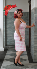 Priscilla Gingham Pencil Dress in Pink by The Pretty Dress