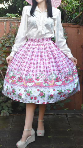 Strawberry Shortcake Skirt in Pink Gingham with Border Print by Hell Bunny