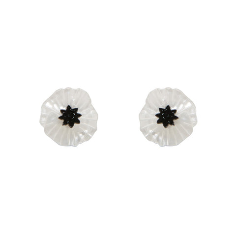 Erstwilder White Poppy Field Resin Earrings