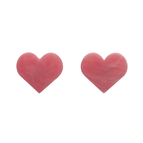 Erstwilder Essential Pink Marble Heart Stud Earrings