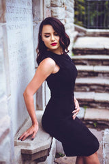 Sophia Wiggle Dress in Black by Katakomb