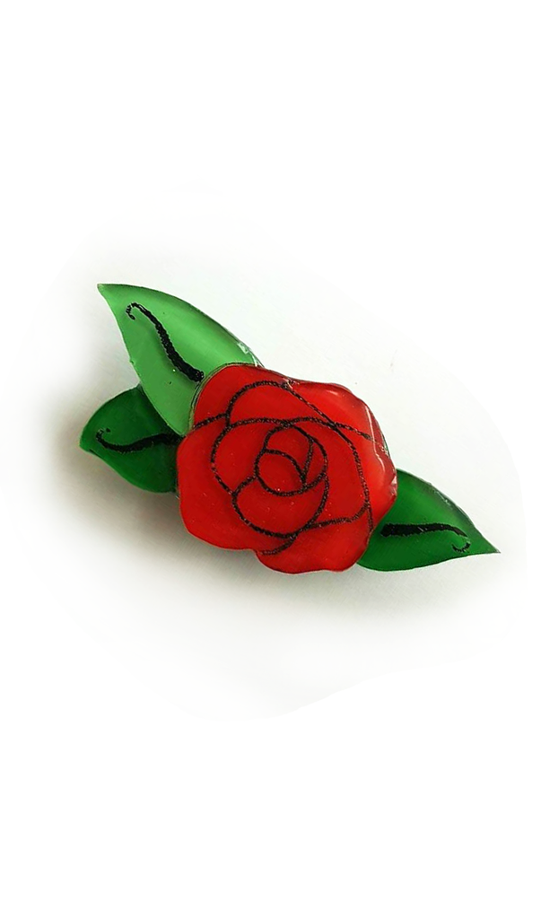 Small Victories Little Red Rose Resin Brooch