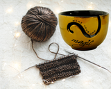 Yarn Bowl for Knitting and Crochet - Handmade with Eco-Friendly Ceramic Material (GOLD/BLACK)