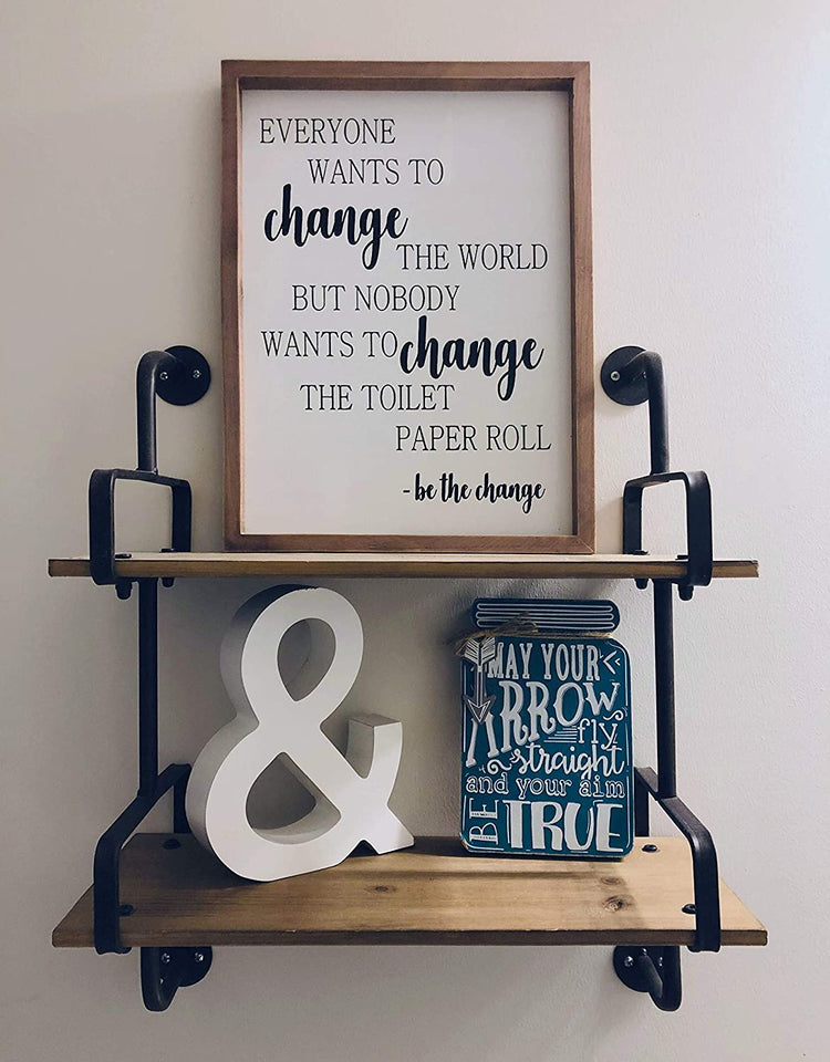 Farmhouse Bathroom Decoration - Funny Be The Change Rustic Wall Art Decor - Approx. 16 x 12 x 1 Inches