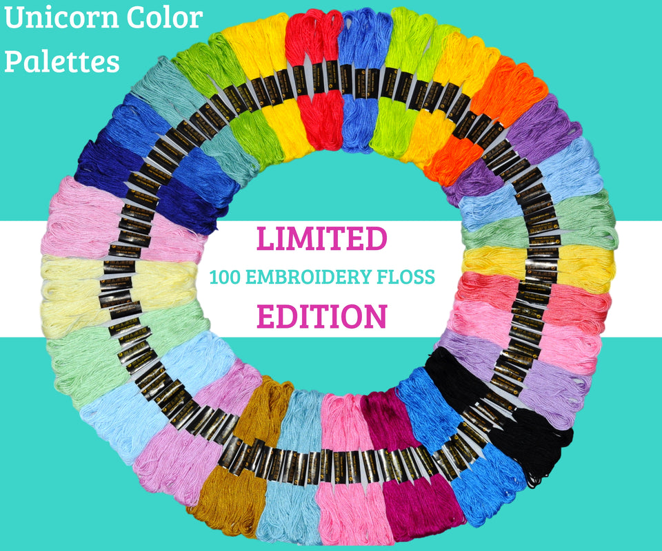 Embroidery Thread - Unicorn Theme Color Palettes - 100 Embroidery Floss
