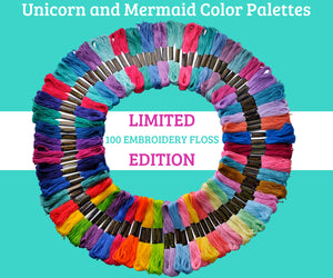 Embroidery Thread - Unicorn and Mermaid Theme Palettes - 100 Embroidery Floss
