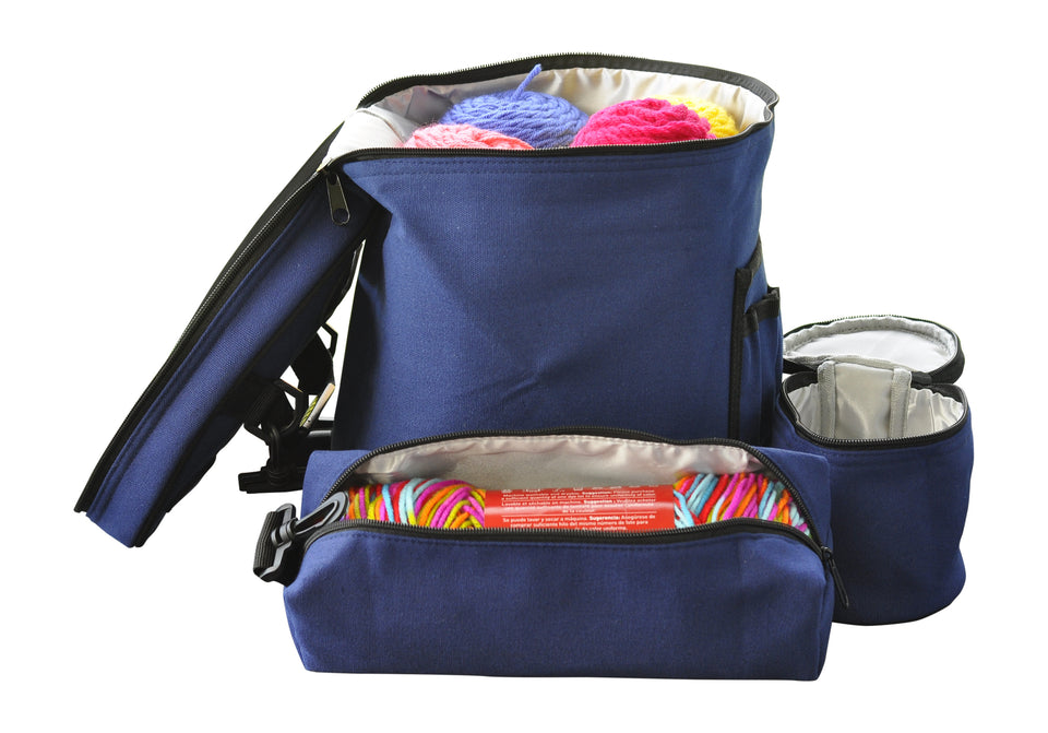 Knitting or Crochet Bag - Yarn Storage Organizer with Accessories - Set of 3 Navy Blue