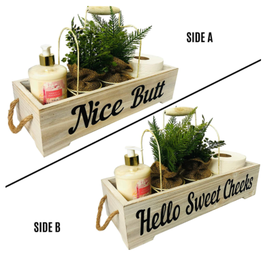Farmhouse Bathroom Decoration - Nice Butt and Hello Sweet Cheeks Funny Bathroom Decor Box - White