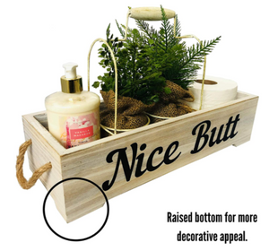 Farmhouse Bathroom Decoration - Nice Butt Bathroom Decor Box with Raised Bottom and Rope Handles for More Rustic Home Decor Feel - Funny Country Toilet Tank Accessories Holder - White