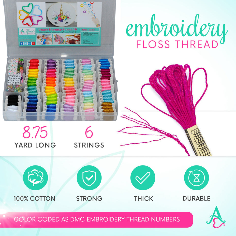 Unicorn DIY Friendship Bracelet Kit - Embroidery Thread and Accessories