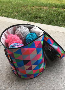Knitting or Crochet Bag - Yarn Storage Organizer with Accessories - Set of 3 - Multi-Colored