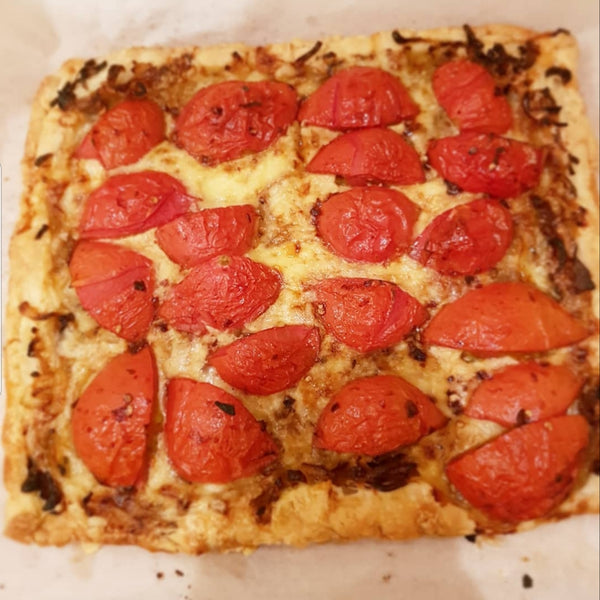 Cheesy Balsamic Tomato Tart