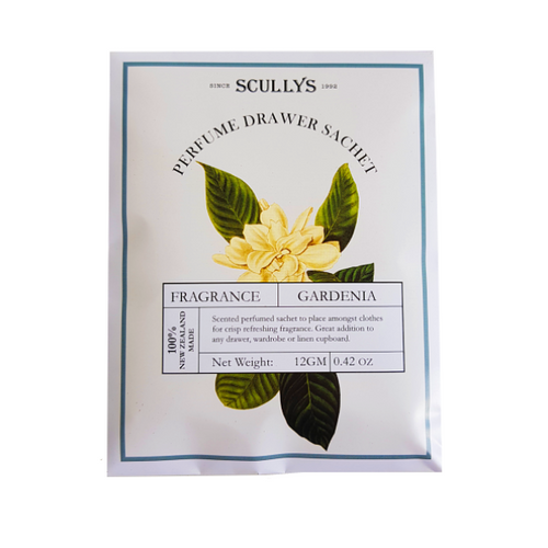 White and yellow packaging with gardenia detailed on it. Beautiful feminine packaging for scented drawer sachet